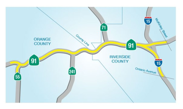 91 Express Lanes Extended by 8 Miles | thetollroadsblog